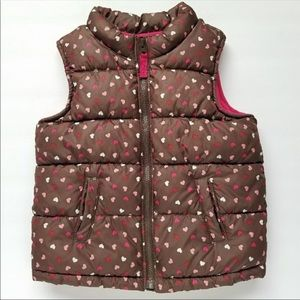 Old Navy Brown Puffy Heart Vest EUC